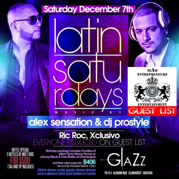 LATIN SATURDAYS CONTINUES AT CLUB GLAZZ