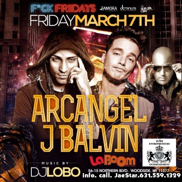 ***///FRIDAY, MARCH 7TH !!! ARCANGEL Y J.BALVIN EN VIVO EN LABOOM !!!\\\***